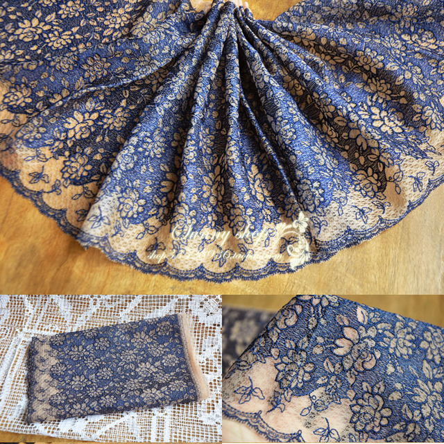 3 Yard/Lot Clothes accessories 24cm wide lace trim navy blue, white net  gauze
