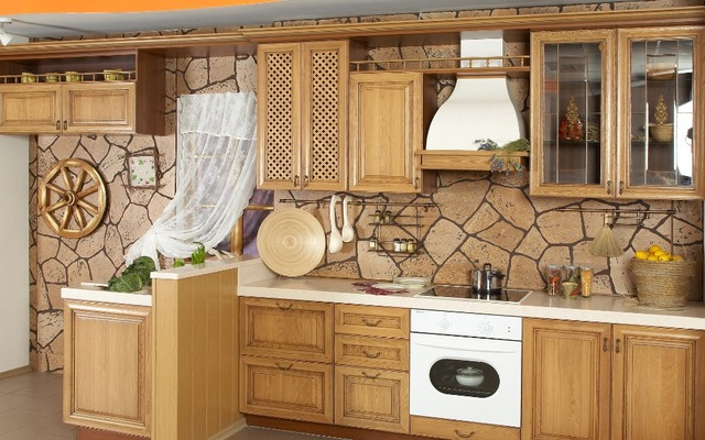 Modern style cherry wood kitchen cabinets-in Kitchen Cabinets from ...