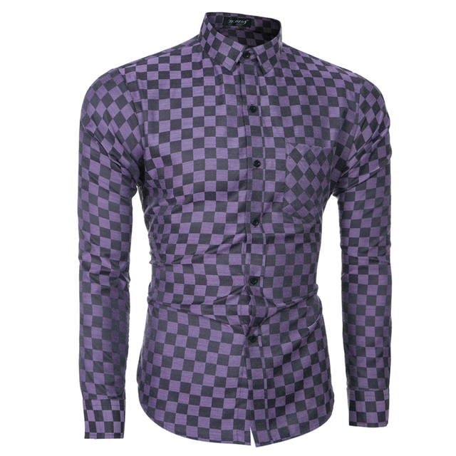 Brand 2017 Fashion Male Shirt Long-Sleeves Tops Men'S Business Casual Fashion Small Lattice Mens Dress Shirts Slim Men Shirt 2XL