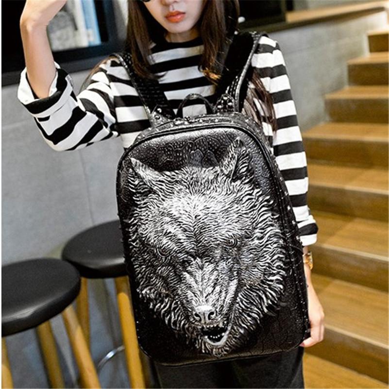 цена Fashion New Animal Grain Travel Backpack Hot Wolf 3D Emboss Travel hop trend Bag Large Capacity PU Leather Women School bags онлайн в 2017 году