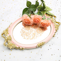 Bandeja Resin Mirror Storage Tray Rose White Blue Jewelry Food Fruit Dish Pink Snack Wedding Serving Decoration Plate Crafts