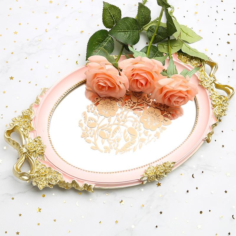Bandeja résine miroir plateau de rangement Rose blanc bleu bijoux alimentaire Fruit plat Rose Snack mariage service décoration assiette artisanat