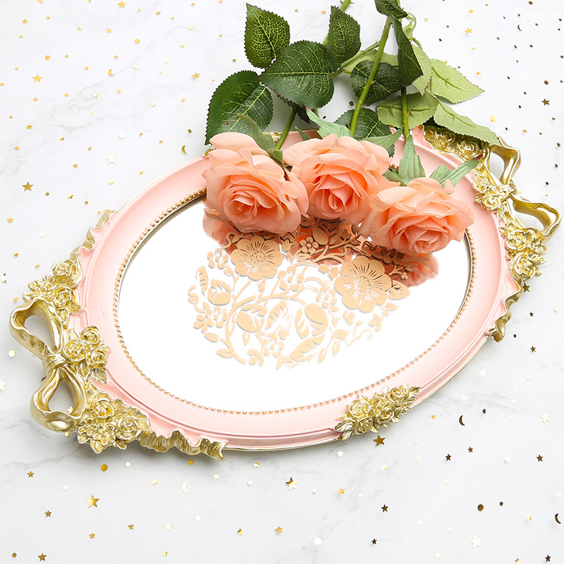 Bandeja Resin Mirror Storage Tray Rose White Blue Jewelry Food Fruit Dish Pink Snack Wedding Serving Decoration Plate Crafts(China)