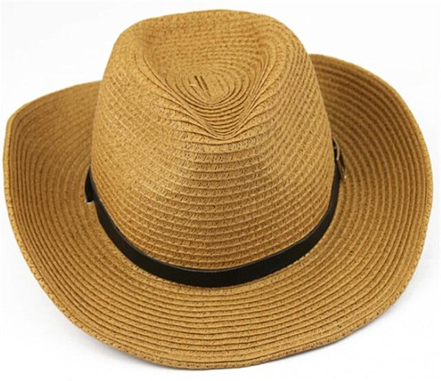 1 pcs Mode Topi Pantai Pria Laki laki Topi Koboi Lipat wanita Topi ... 17a80404ac
