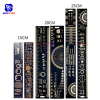 1Set 15cm 20cm 25cm PCB Ruler Multifunctional Measuring Tool Resistor  Capacitor Chip IC SMD Diode Transistor Package 180 Degrees