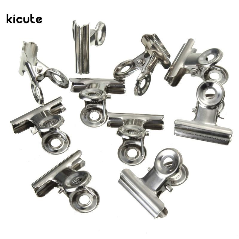 10pcs set mini bulldog clips letter clips stainless steel. Black Bedroom Furniture Sets. Home Design Ideas