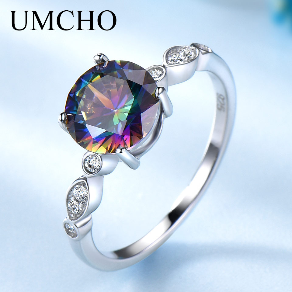 UMCHO Genuine Rainbow Fire Mystic Topaz Rings For Women Genuine 925 Sterling Silver Trendy For Women Romantic Gift Fine Jewelry