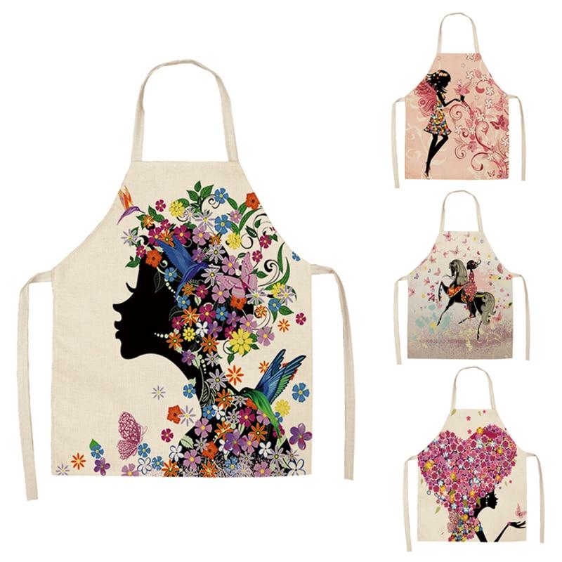Hongbo 1 Pcs Cotton Linen Flower Butterfly Girl Printed Kitchen Aprons For Women Home Cooking Baking Waist Bib Pinafore