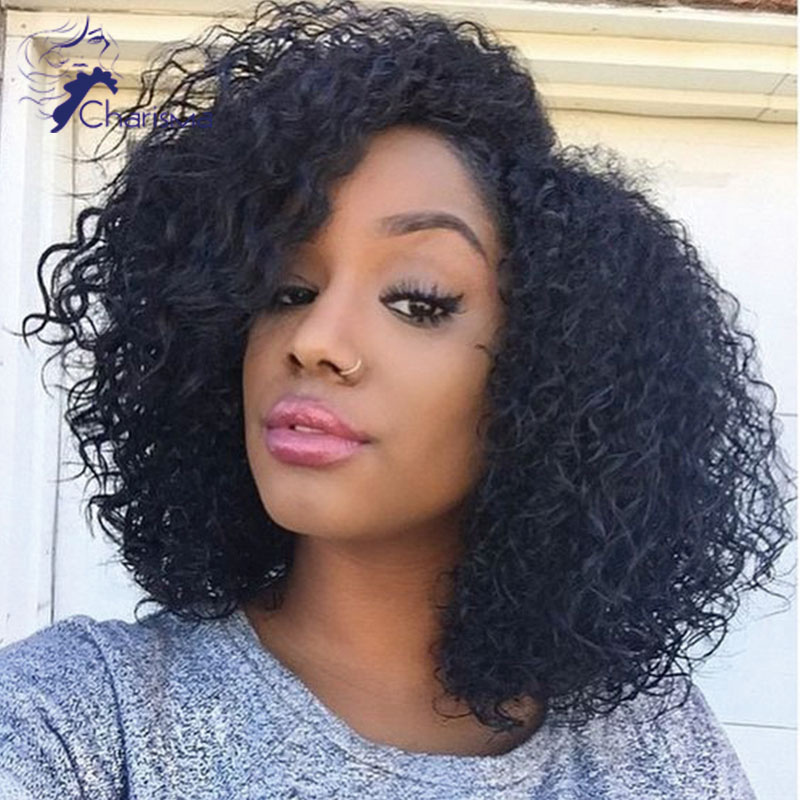 150 Density Short Curly Full Lace Human Hair Wig For Black