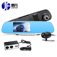 2016 NEW 4 3 Inch Screen Dual Lens Car DVR 1080P HD Mirror Car Camera Night
