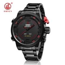OHSEN Alarma Impermeable LED Completa Steel Band Cuarzo de Japón Analógico-digital Outdoor Fun & Soprts Relojes Militares Relogio masculino