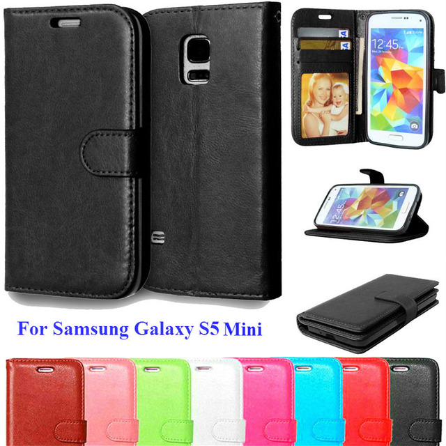 newest 5e1a4 0a2b0 US $3.15 10% OFF|S5Mini Phone Cases For Coque Samsung Galaxy S5 Mini Case  Flip Leather Wallet Bag with Card Slot Stand Holder Cover Fundas-in Flip ...