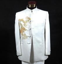 Chinese tunic suit embroidered dragon formal dress latest coat pant designs suit men marriage wedding suits for men's white