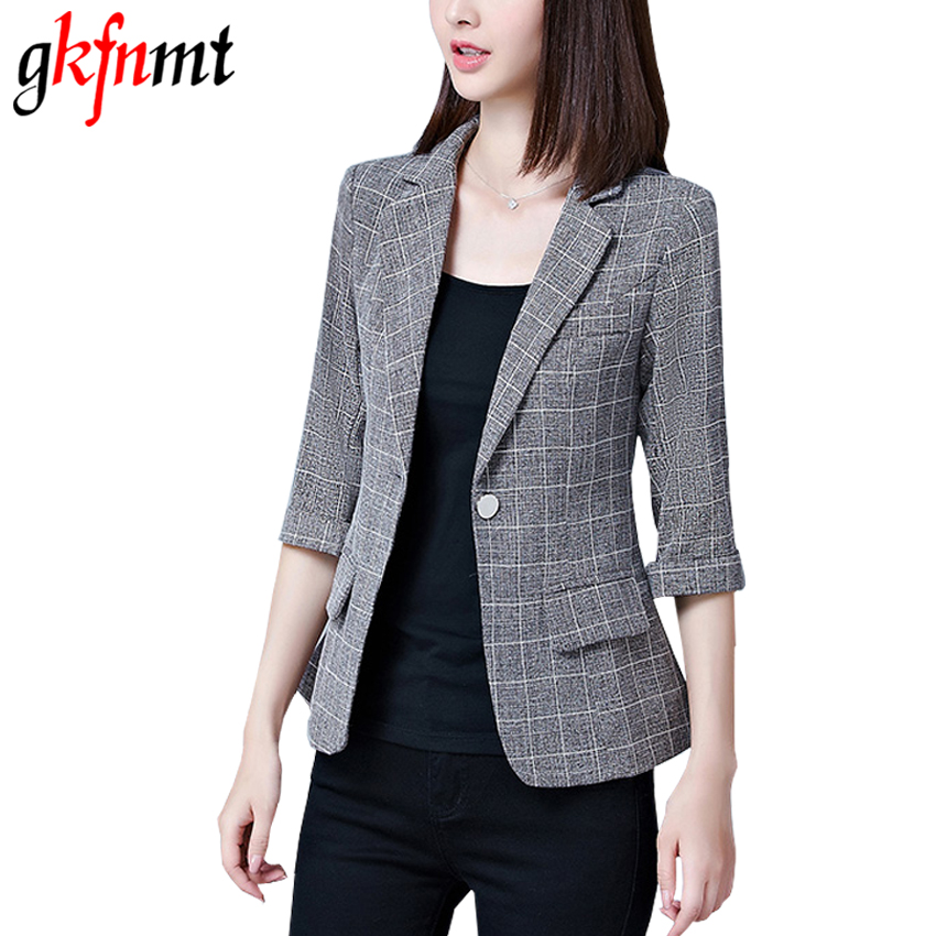 2017 New Blazers Feminino Womens Plaid Three Quarter Business Suits Autumn All-match Woman Jackets Slim Blazer Suit Plus Size