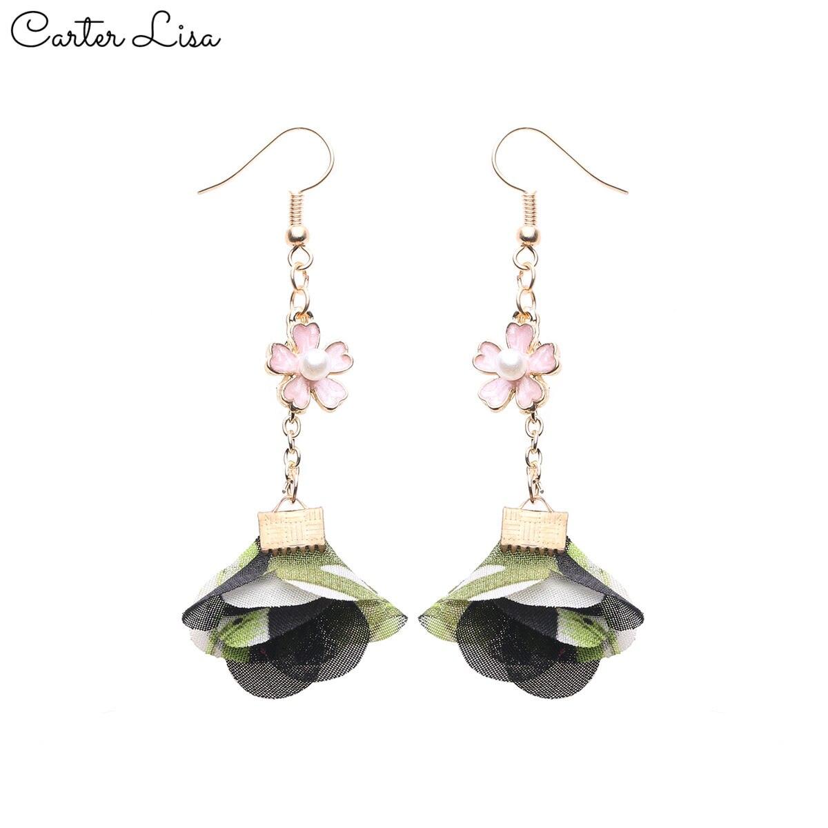 CARTER LISA 2019 New Hot Bohemian Women Dangle Earrings Fresh Frosted Petals Dripping Earrings For Women Jewelry HDEA-068