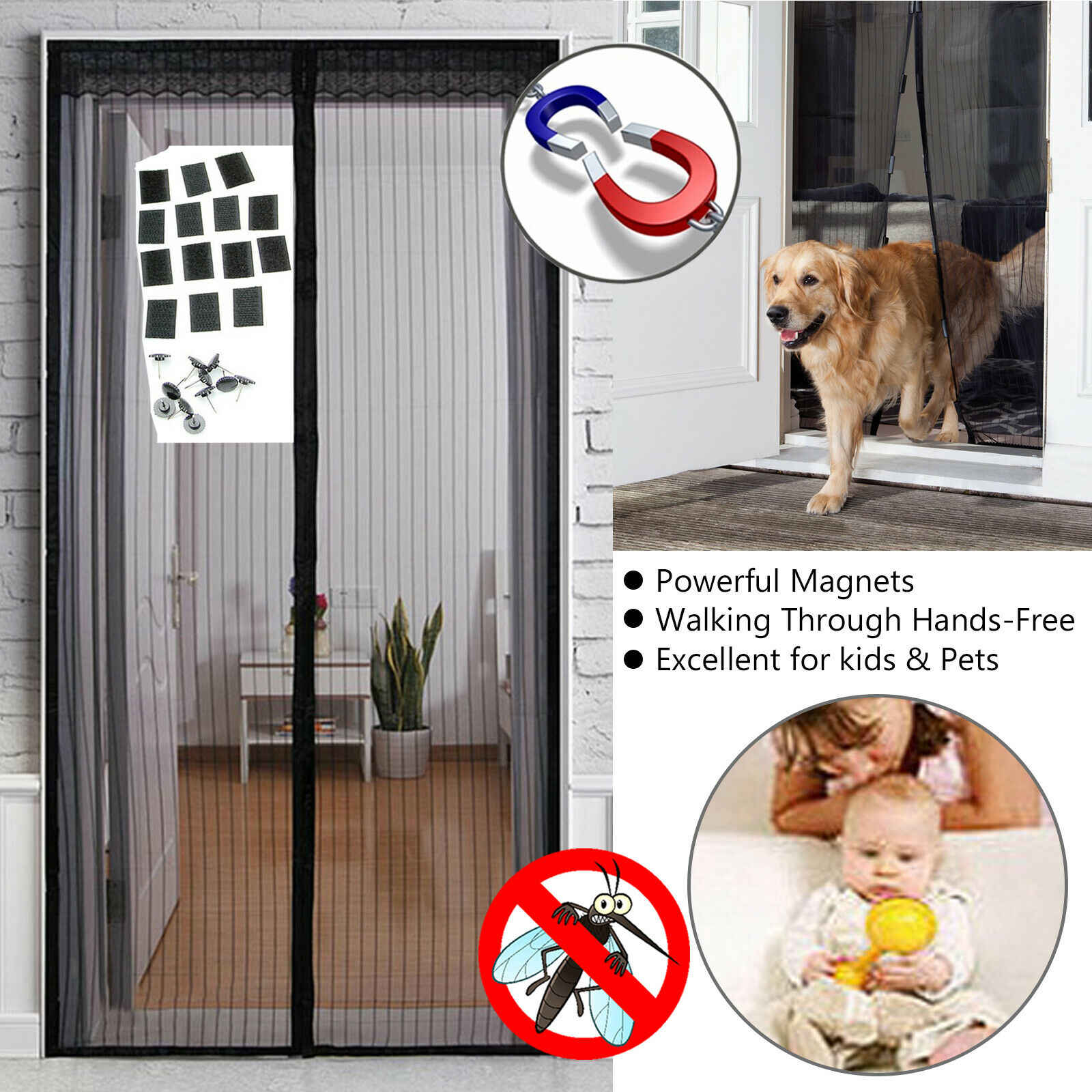 Mesh Door Magic Curtain Magnetic Snap Fly Bug Insect Mosquito Screen Net