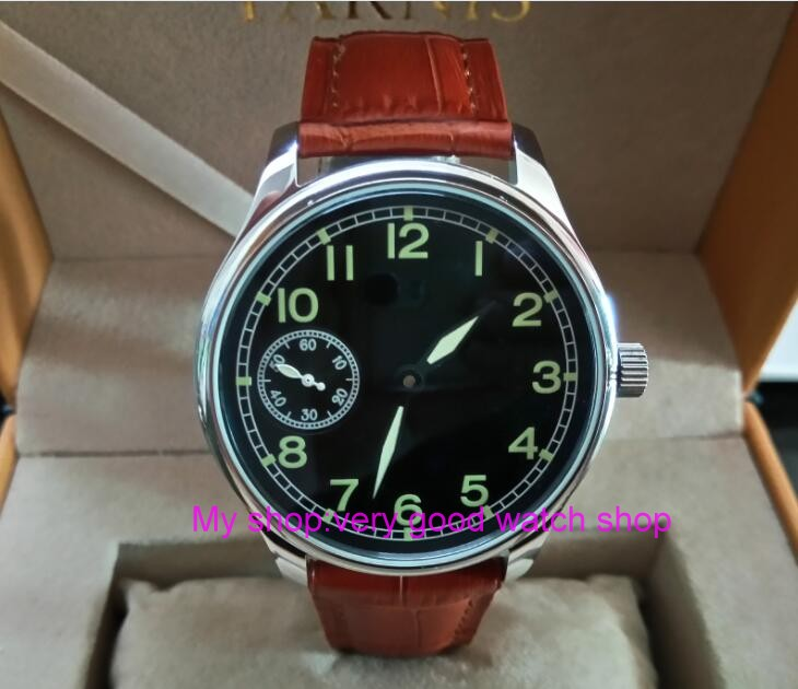 цена на 44mm PARNIS black dial Asian 6497 17 jewels Mechanical Hand Wind movement men's watch green luminous Mechanical watches zdgd278A