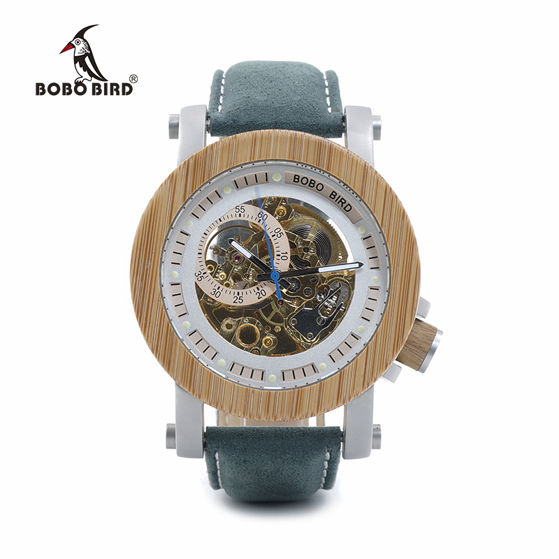 BOBO BIRD Mens Bamboo Mechanical Watches Genuine Leather Strap Wooden Male Wrist Watches relogio masculino In