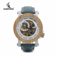 BOBO BIRD Mens Bamboo Mechanical Watches Genuine Leather Strap Wooden Male Wrist Watches relogio masculino In Gift Boxes C-K13