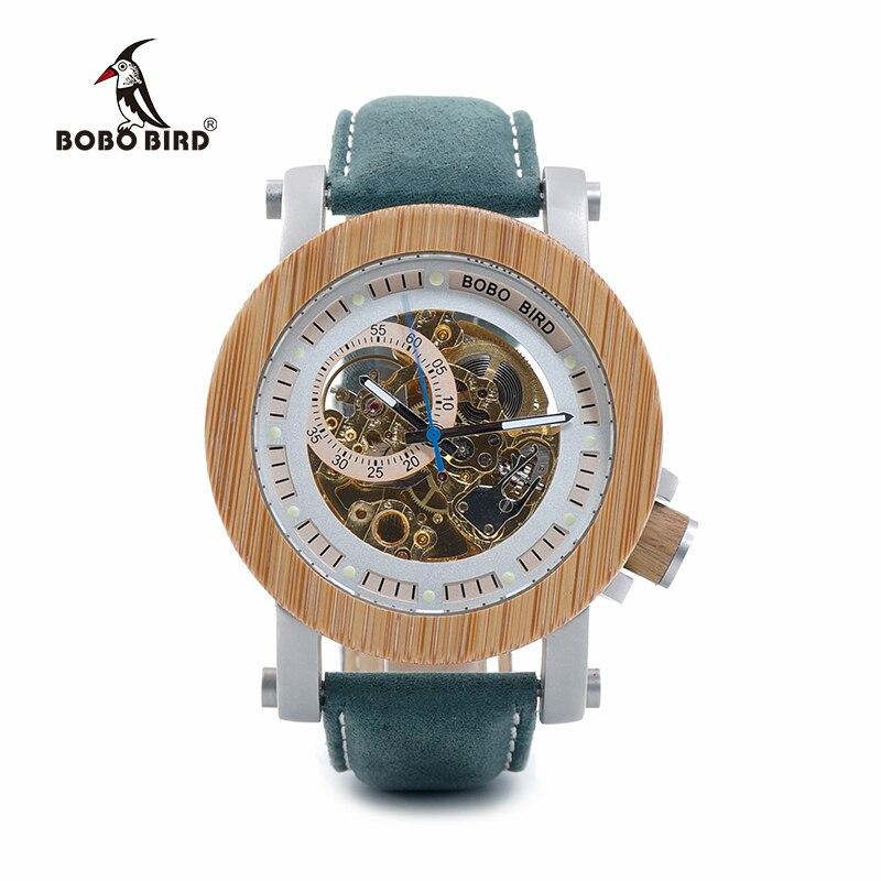 BOBO BIRD montres mécaniques en bambou pour hommes bracelet en cuir véritable montres hommes en bois relogio masculino dans des coffrets cadeaux C-K13