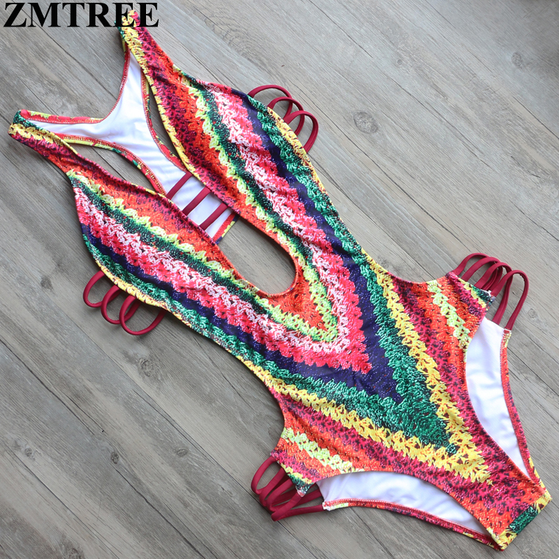ZMTREE 2017 New Hot Sexy Swimwear Women Push Up One Piece Swimsuit Sets Slim Monokini Femme