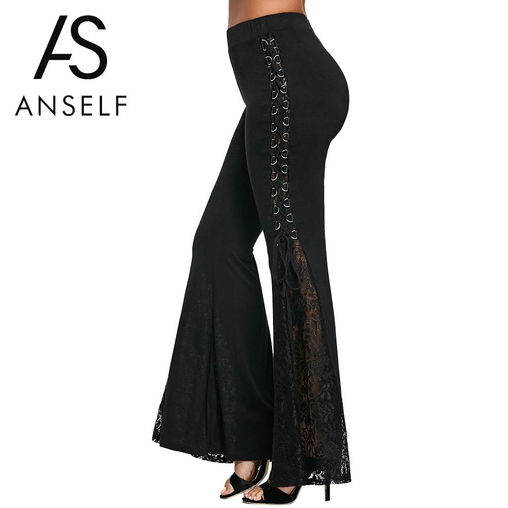 Anself Women Black High Waist Lace Flare   Pants   Elastic Waist Vintage Cotton Long Trousers   Wide     Leg     Pants   Dance Cozy   Pants   2019