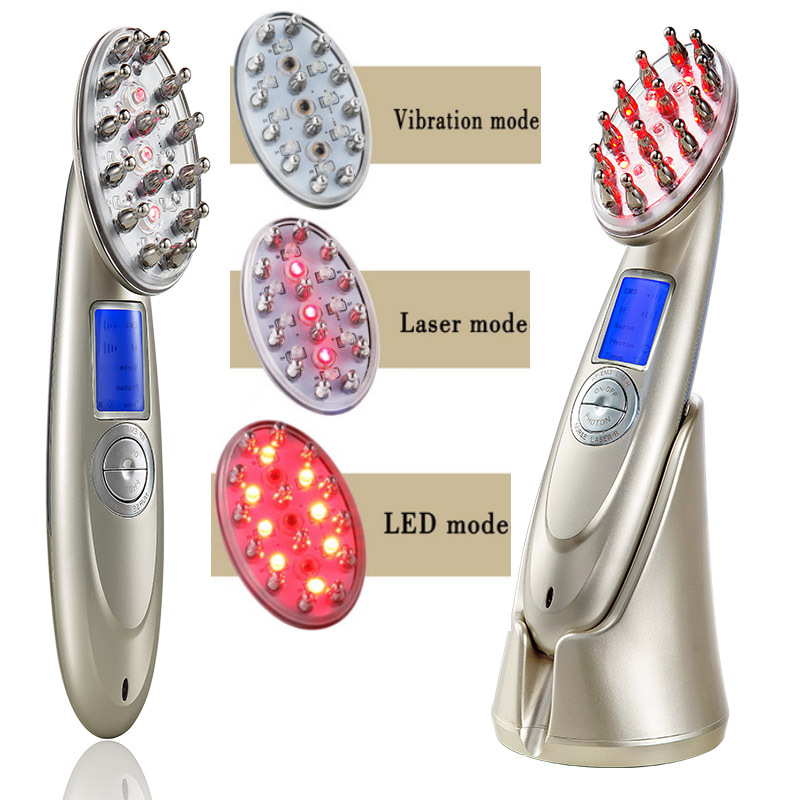 New Laser Treatment Comb Rechargeable USB Charging Laser Comb Vibrating Scalp Massage Hair Regrowth Stimulate Hair
