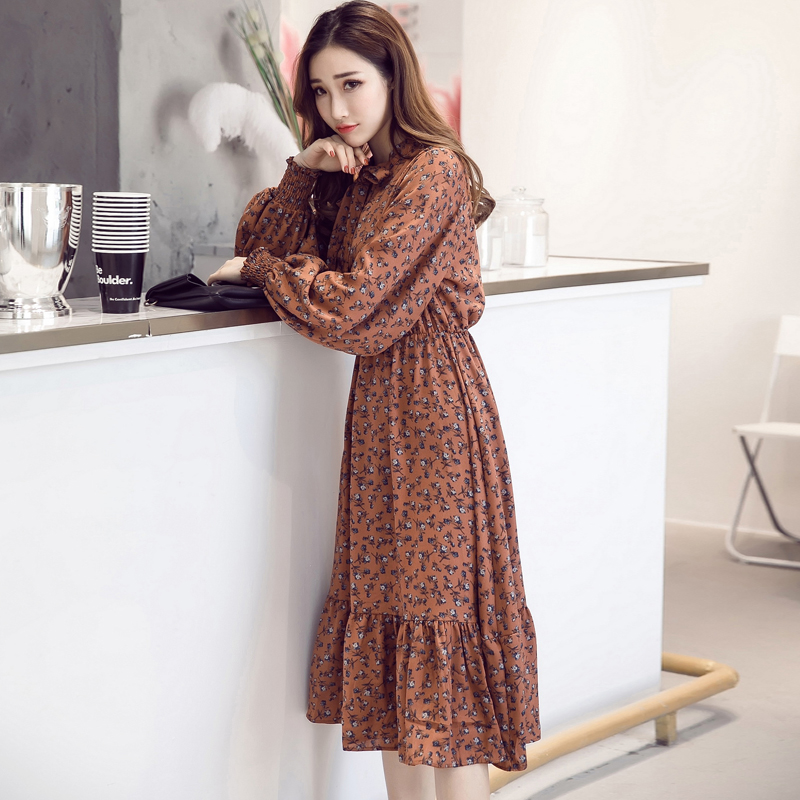 Women's Clothing Ambitious High Quality Chiffon Dress 2019 Summer Korean Style Women Green Leaves Floral Print Long Sleeve Casual Tunic Button Dress Sun Elegant In Style