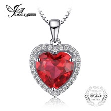 JewelryPalace Heart 3.9 ct Created Red Ruby Love Forever Halo Pendant Solid 925 Sterling Silver Fine Jewelry Not Include A Chain