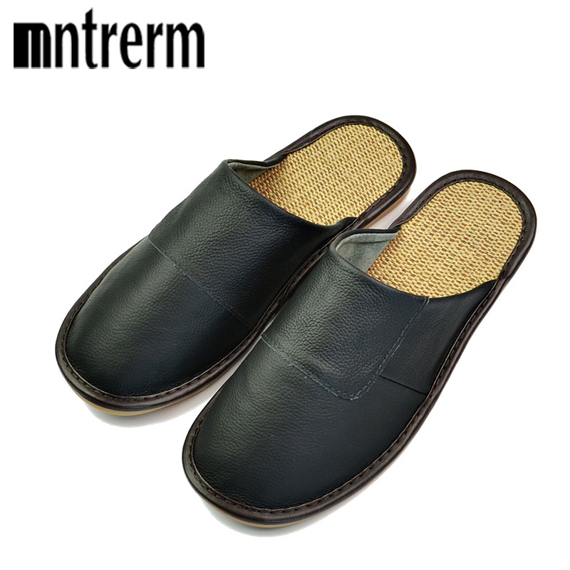 Mntrer 2018 Genuine Leather Men's Spring And Autumn Slippers Linen Bottom Home Slippers Men Indoor Flat Slippers Basic Slides