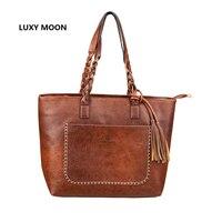 2016 PU Leather Handbag Bolsas Mujer Vintage Designer Tassel Shoulder Bags Large Women Bag Shopping Tote