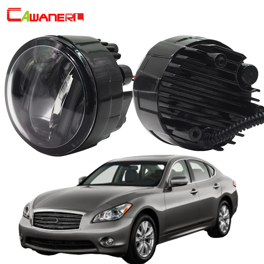 Cawanerl 1 Pair Automotive LED Left + Right Fog Light DRL Daytime Running Lamp 12V Car Styling For Infiniti M56 2011 2012 2013 cawanerl 1 pair car light led fog lamp drl daytime running light white 12v for subaru trezia hatchback 1 3 1 4d 2011 onwards