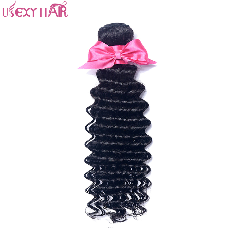USEXY HAIR 1 Piece Deep Wave Remy Human Hair Bundle 100% Brazilian Hair Weave Bundles 8-28 Inch 100g Natural Color Hair Weaving