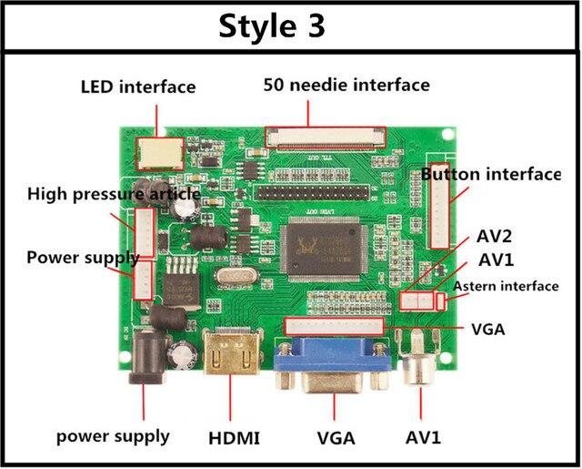 Placa controladora LCD TTL LVDS HDMI VGA 2AV 50 PIN para AT070TN90 92 94 20000938-00soporta automáticamente la placa controladora Raspberry Pi
