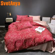 Svetanya Leaves Bed Linens 100 Egyptian Cotton Bedding Set Digital Print Queen Full King Size(China)