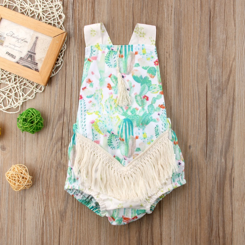 Newborn Infant Baby Girl Floral Romper Jumpsuit Cotton Clothes Outfit Baby Girl Tassel Sleeveless Romper Green