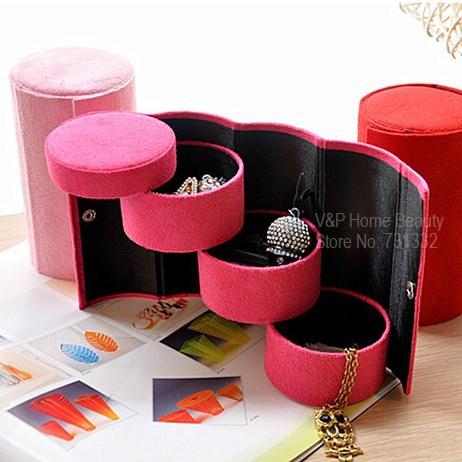 folding casket jewelry organizer vintage 3 layer makeup. Black Bedroom Furniture Sets. Home Design Ideas