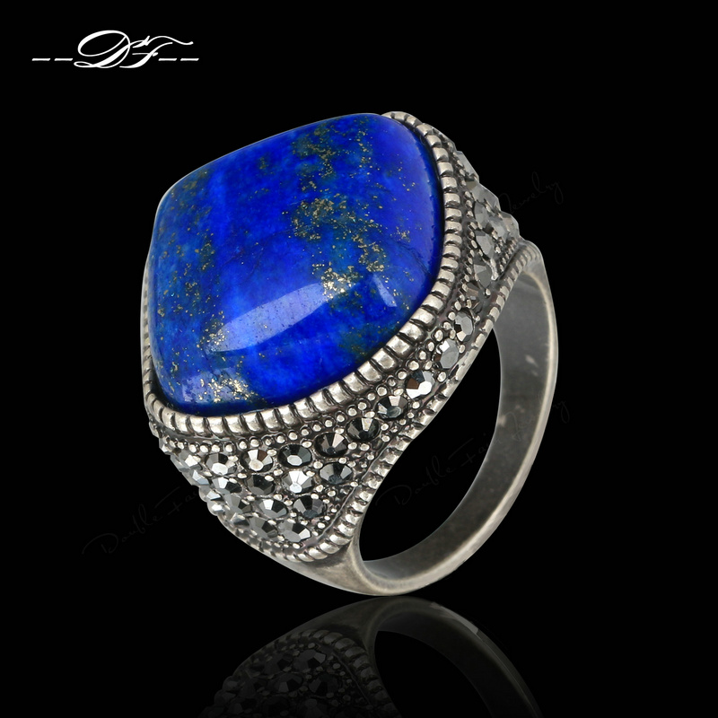 Punk Semi-precious Stone Lapis Lazuli Finger Rings Antique Silver Color Fashion Brand Vintage Jewelry anel Wholesale DFR179