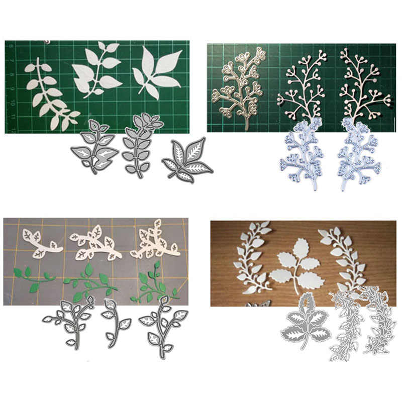 Green Leaves Metal Cutting Dies Stencils For DIY Scrapbooking Photo Album Die Cuts Decorative Embossing Paper Cards Crafts Tools