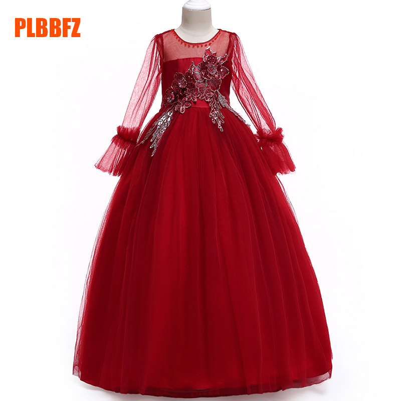 Children's party   dress     flower     girl     dresses   for wedding first communion princess beading   dress   baby tutu costume clothing LP-216