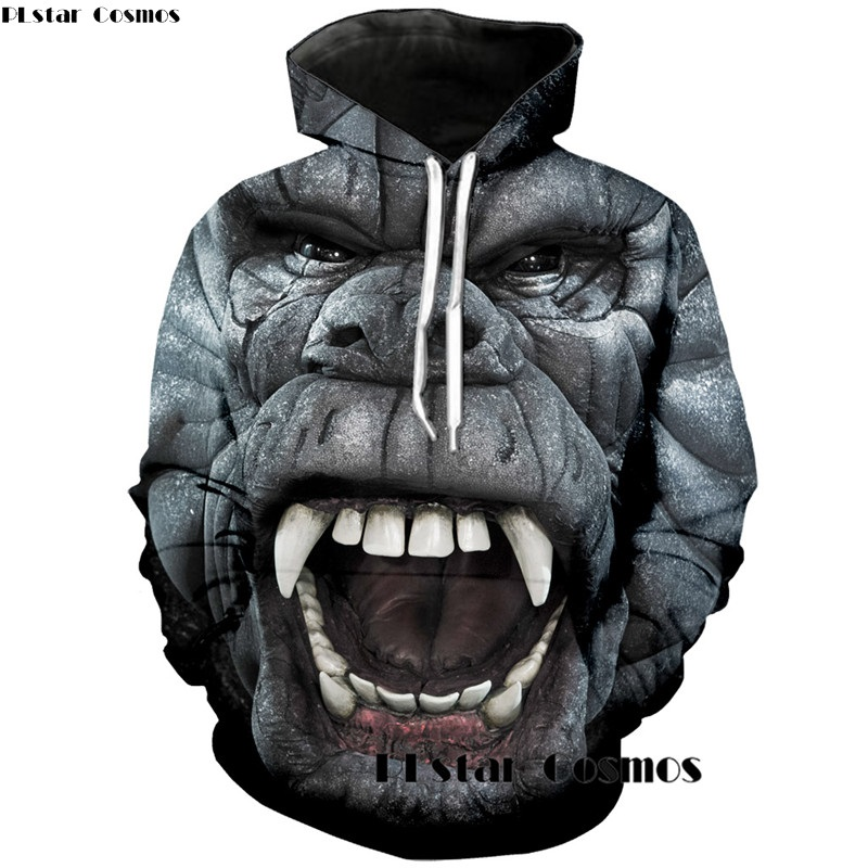 PLstar Cosmos 3d King Kong Hoodies Sweatshirt For Women Men kingkong Print Hoodies Long Sleeve Pullovers Casual Sportswear Tops