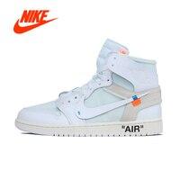 Official Original Nike Air Jordan 1 AJ1 OW Off White Men's basketball shoes Outdoor sports AQ0818 100