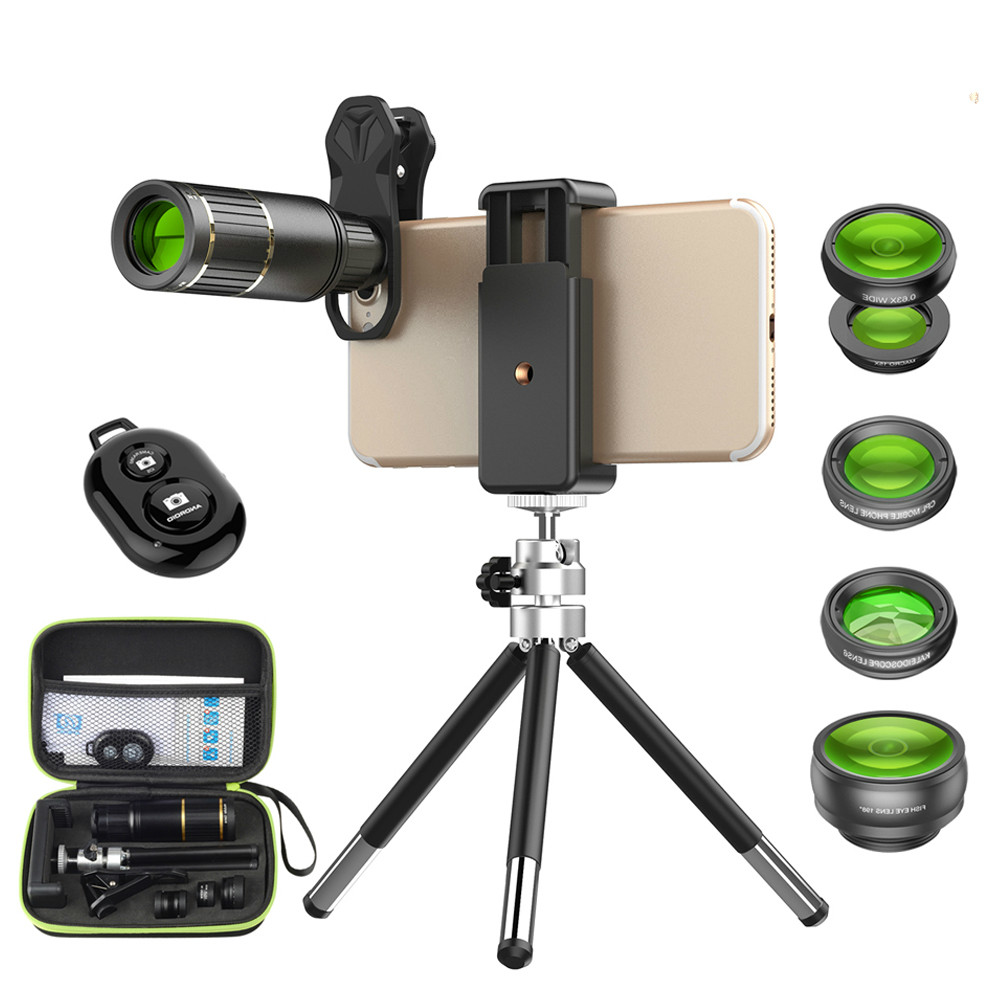 Optical Mobile Phone Camera Lens 16x Telephoto Telephoto Lens with Tripod + 5in1 Wide Fisheye for Samsung Huawei All Phones