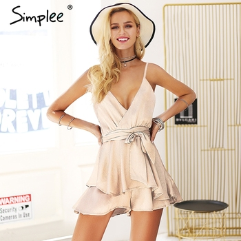 V neck spaghetti strap sexy rompers Womens jumpsuit