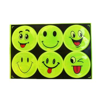 1 partia 6 sztuk reflektor rowerowy fluorescencyjne MTB szosowe klej odblaskowa naklejka uśmiechnięta twarz wklej wielofunkcyjny odblaskowy Patch tanie i dobre opinie Odblaskowe naklejki 5*6 5cm