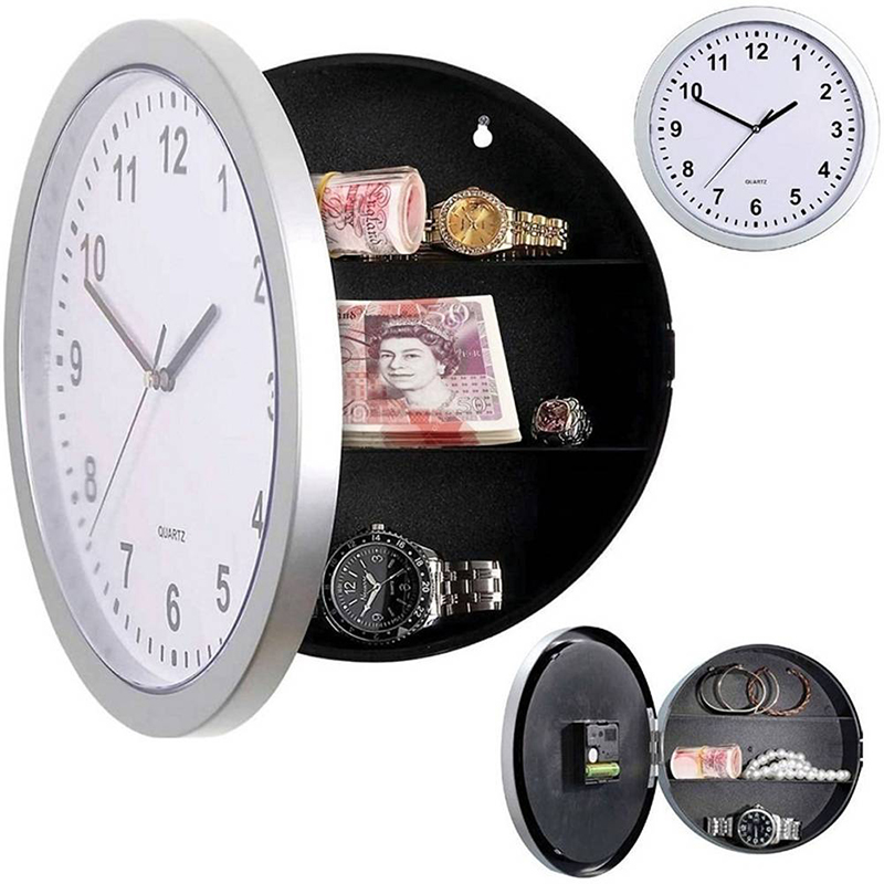Wall Clock Hidden Secret Compartment Safe Money Stash Jewellery Stuff Storage White 10-inch