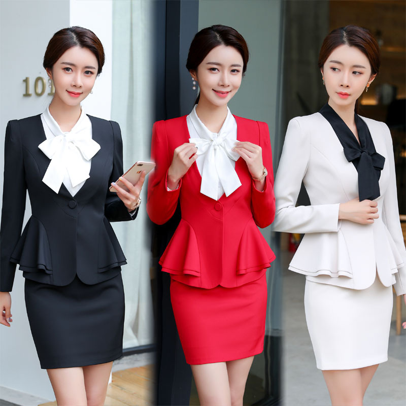 IZICFLY Black Ladies Formal Uniform Designs Set For Women Blazer Mulher Uniform Elegant Feminino Business Skirt Suits Plus Size