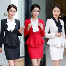 IZICFLY Black Ladies Formal Uniform Designs Set for Women Blazer Mulher Uniform Elegant Feminino Business Skirt Suits Plus Size