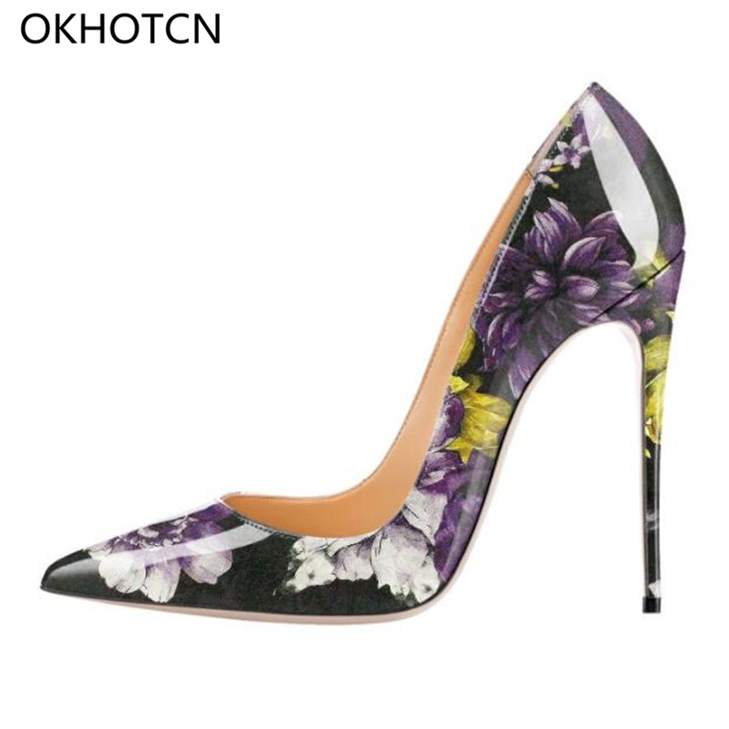OKHOTCN 12cm Printed Flowers Wedding Shoes Sexy Graffiti Womens High Heel  Shoes Pointed Toe Apricot Party Dress Stiletto Heels -in Women s Pumps from  Shoes ... 4acb82f6649f