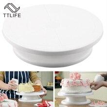 Ttlife 28 cm cocina cake decorating icing giratoria placa giratoria soporte de la torta blanca de plástico fondant herramienta para hornear diy